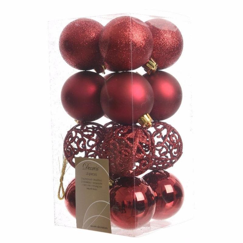Bestel 16x Donkerrode Kerstballen 6 Cm Kunststof Mix In De Winter Winkel