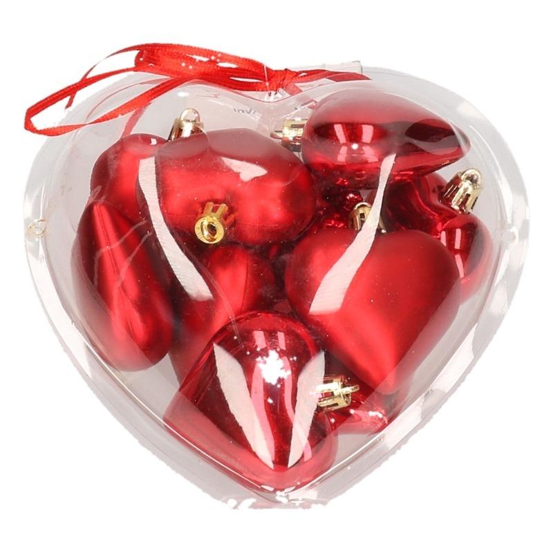 Bestel Rode Kerstversiering Hartjes Kerstballen 10 Stuks In De